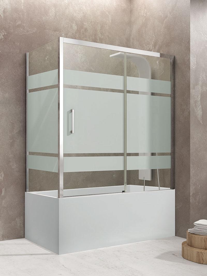 Mampara frontal de bañera corredera con lateral fijo GME Aktual cristal frost plus