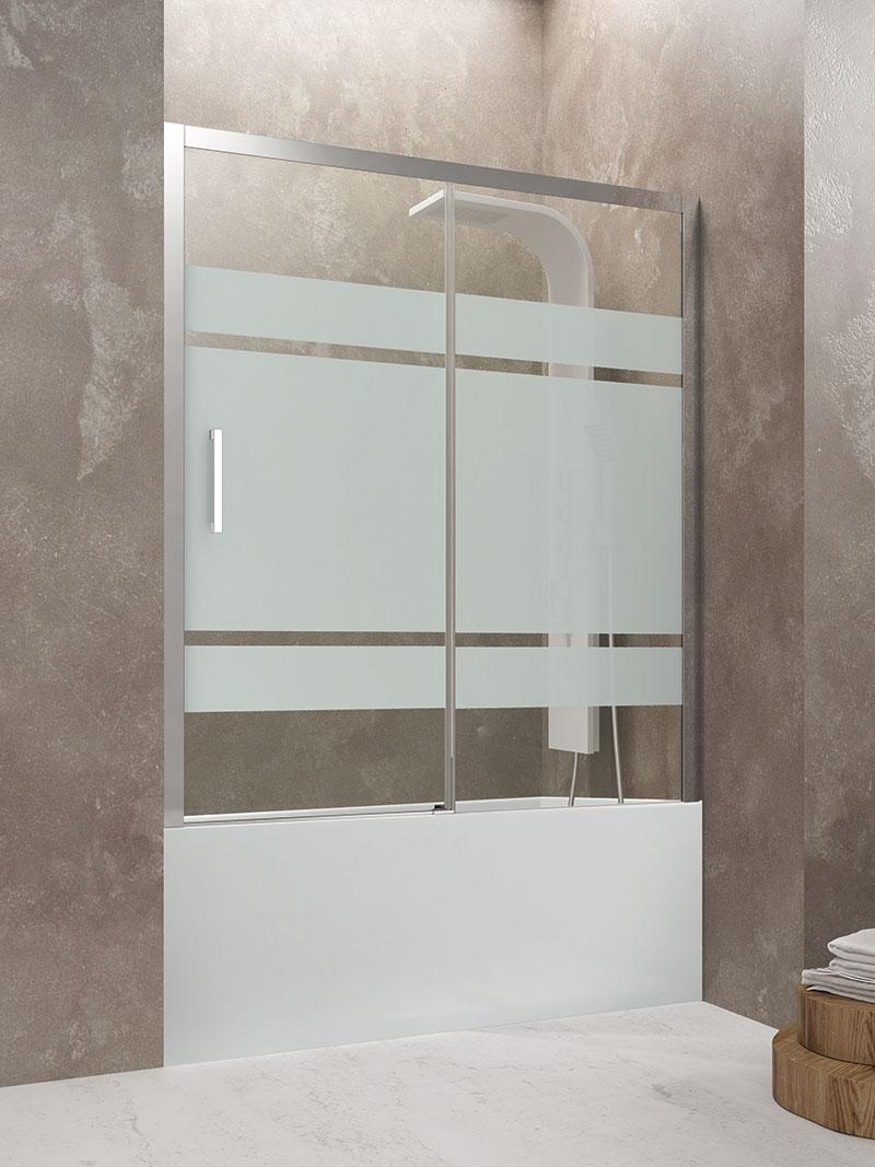 Mampara frontal de bañera fijo con corredera GME Aktual cristal Frost Plus