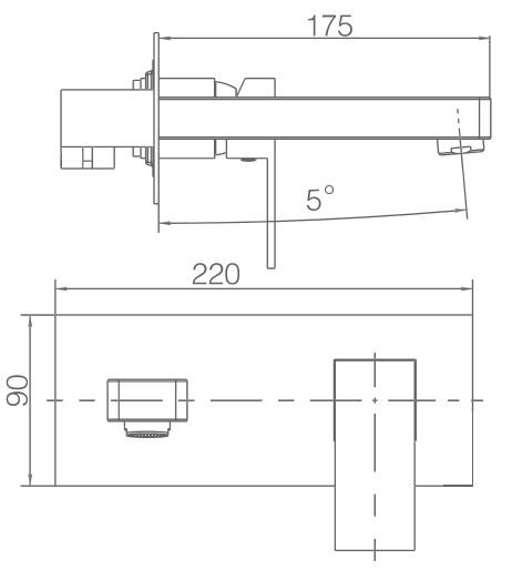 Medidas grifo lavabo pared empotrado negro Suiza