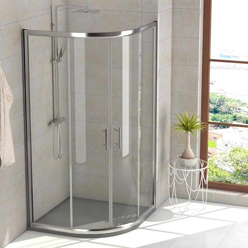Mampara ducha semicircular 80x80 y 90x90 cristal transparente