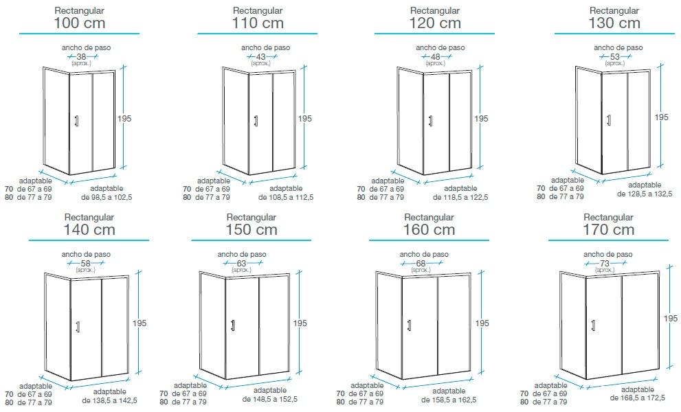 Medidas Mampara esquinera rectangular 1 fijo + 1 puerta + lateral Columbia