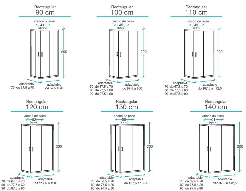 Medidas Mampara esquinera rectangular 2 fijos + 2 puertas