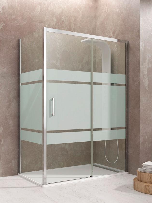 Mampara para ducha frontal con lateral fijo Aktual - Cristales serigrafiados Frost Plus
