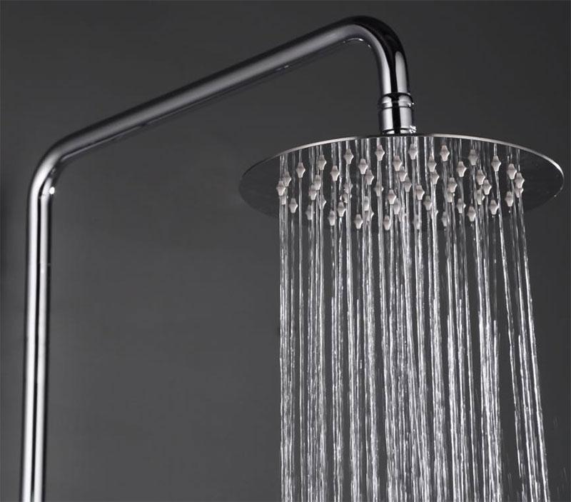 barra ducha rociador redondo GME Cassio Cromo. Detalle rociador