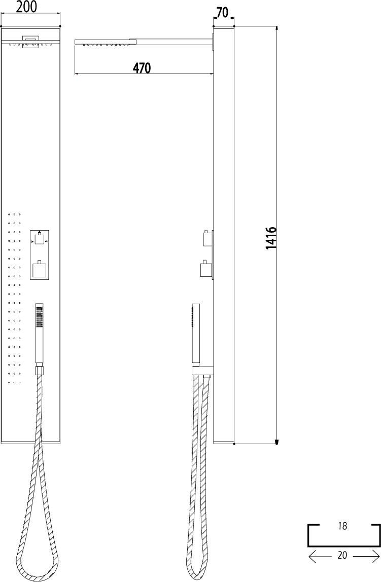 Medidas columna de ducha GME Victoria