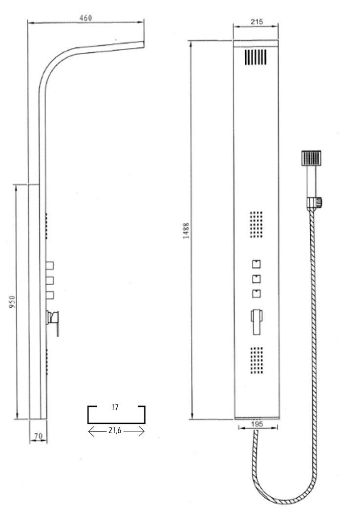 Medidas columna de ducha blanca GME Gocta