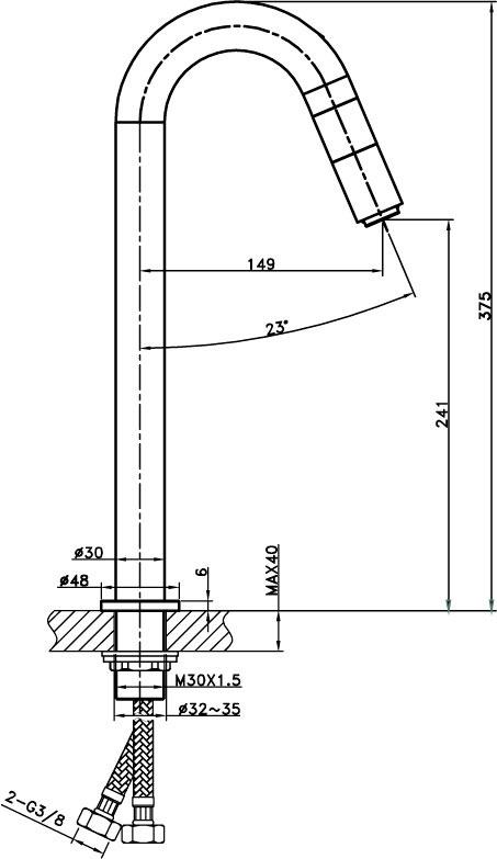 Medidas grifo de caño alto para lavabo GME Io's-5