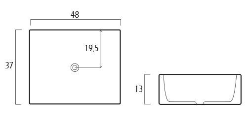 Medidas Lavabo rectangular GME elegance 9383