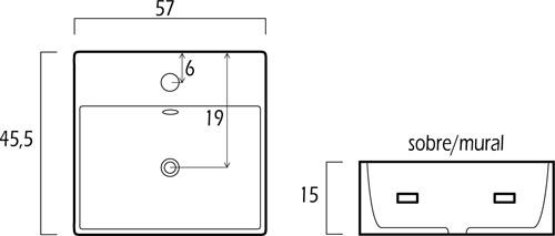 Medidas del Lavabo rectangular de baño cerámico GME STD 9688