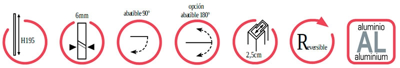 Características Mampara frontal fijo + puerta GME Open Combi D