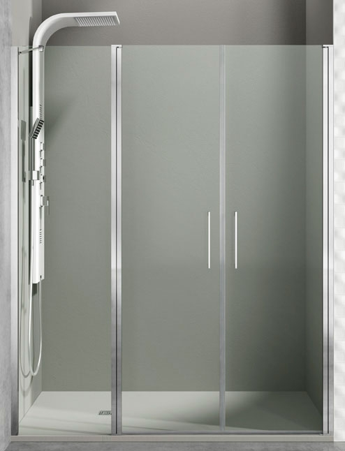 Mampara de ducha fijo con 2 puertas abatibles Open Combi J