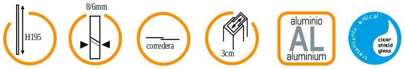 Características Mampara ducha SEMICIRCULAR GME Prestige Titan