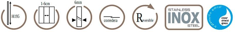 Características mampara frontal GME Temple 1 fijo + 1 corredera