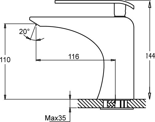 Medidas grifo lavabo GME Zio