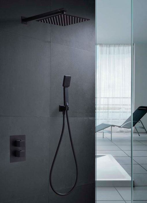 Kit ducha termostática empotrada Cies Negro