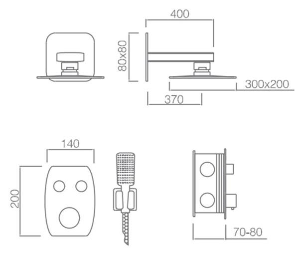 Medidas kit ducha termostática empotrada Hidra Negro