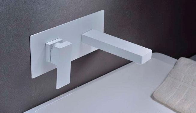 Grifo lavabo pared empotrado blanco Suiza