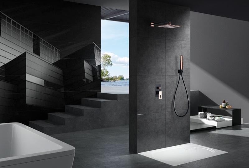 Kit empotrado de ducha Suecia negro oro rosa