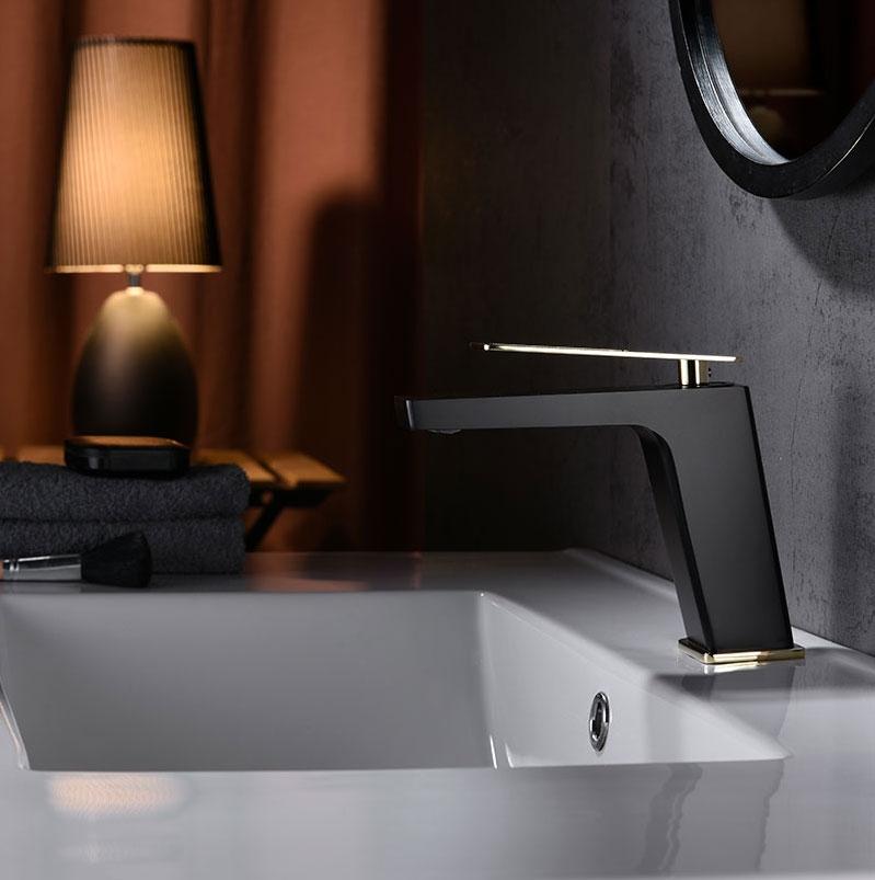 Grifo de lavabo Suecia Negro Oro