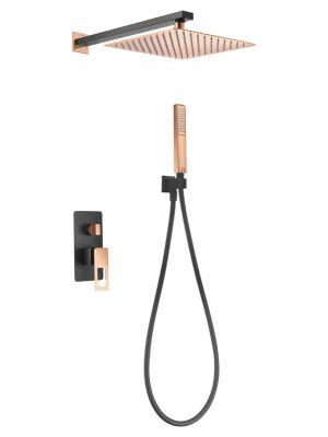 Kit empotrado de ducha Imex Suecia Negro Oro Rosa BDC032-6-NOR