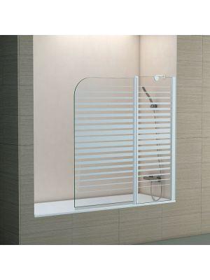 Biombo para bañera Becrisa Twin Rayas fijo + puerta